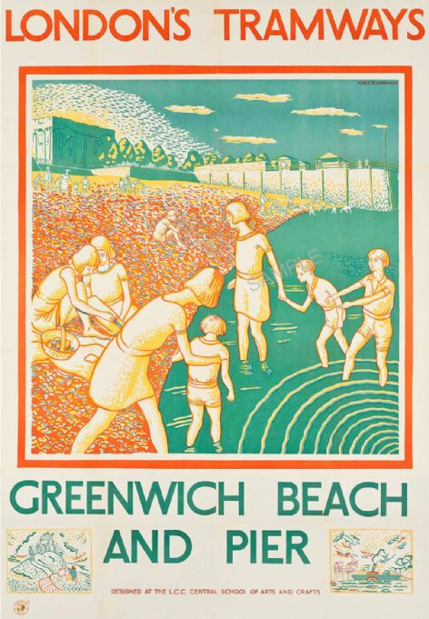 Greenwich Beach  and Pier River Thames London Tramways